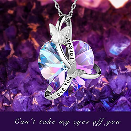 Pinsparkle Butterfly Necklaces Crystal Jewelry Heart Necklaces for women Swarovski Crystal -I Love You Forever Pendant Gifts for Mom Wife