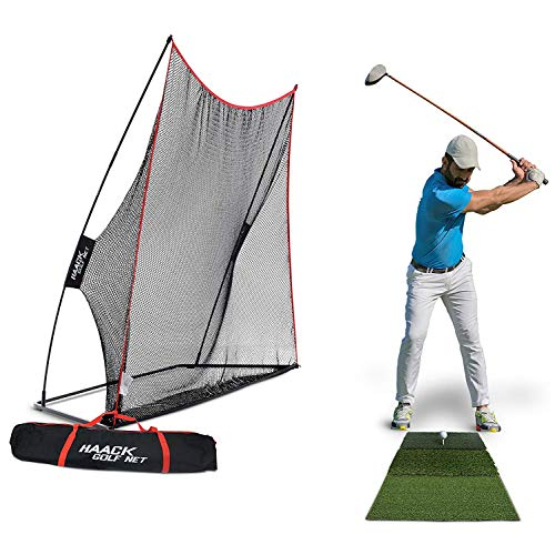 Rukket 3pc Golf Bundle | 10x7ft Haack Golf Net | Tri Turf Hitting Mat | Carry Bag | Practice Driving Indoor and Outdoor | Golfing at Home Swing Training Aids ()