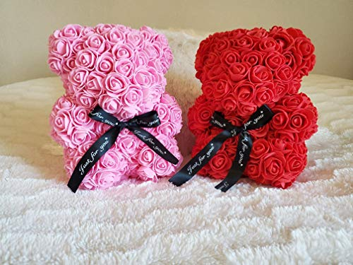 (Preserved Rose Teddy Bear | San Valentin Day | Rose Bear for Valentines Day by Decor & Co (Pink,)