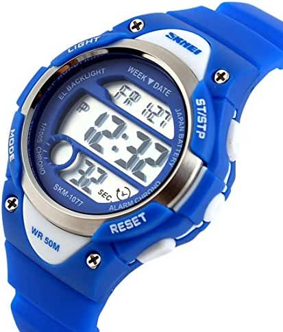 Takyae 2017 Children Watch Outdoor Sports Kids Boy Girls LED Digital Alarm Waterproof Wristwatches Children's Dress Watches Blue
