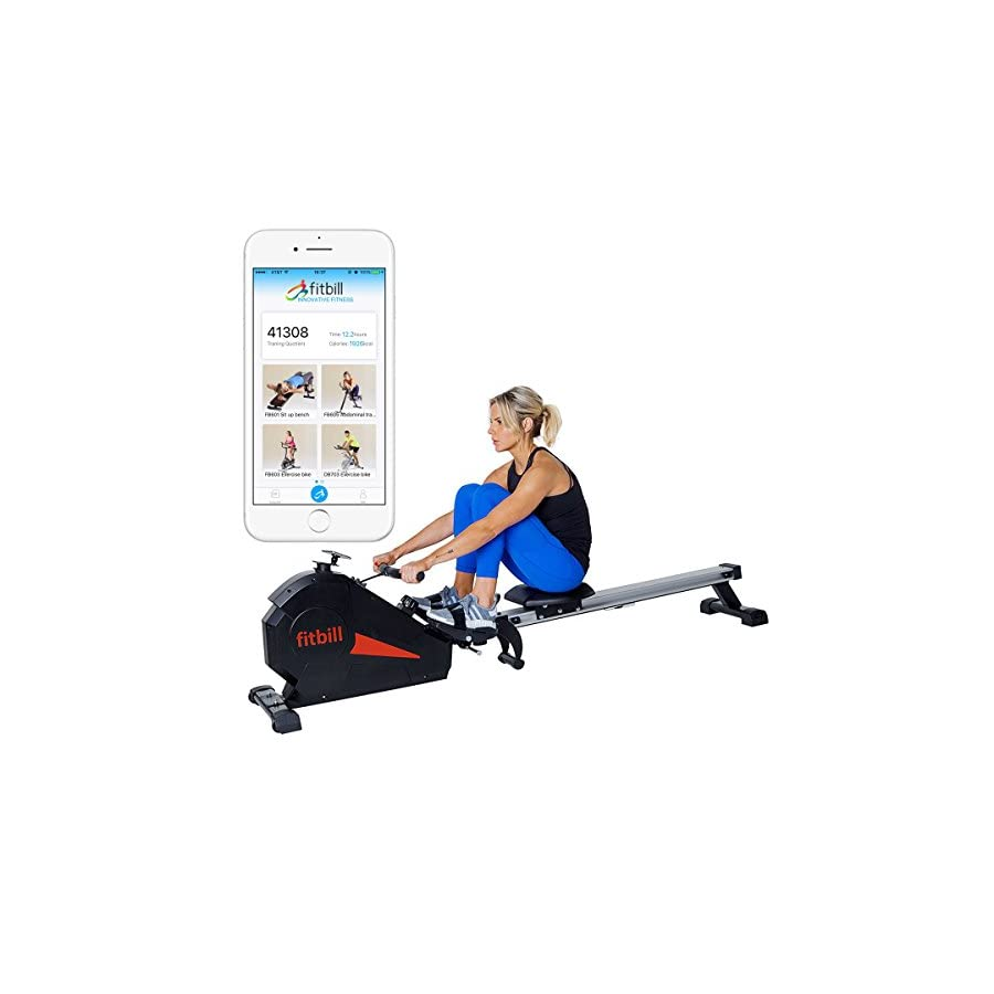 fitbill Rowing Machine Rower with Bluetooth Smart Technology, Workout App, Magnetic Resistance, Folding Design and High Weight Capacity
