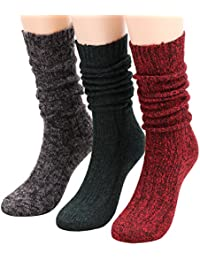 3 Pairs Women's Winter Cable Knit Leg Warmer Knee High Socks Size 5-11 A156