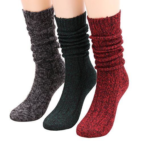 Galsang 3 Pairs Women's Winter Cable Knit Leg Warmer Knee High Socks A156 (solid color) (Knee Length Socks)