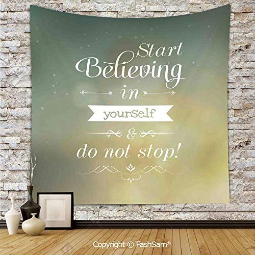 FashSam Tapestry Wall Blanket Wall Decor Start Believing in Yourself and Do Not Stop Inspiring Typographic Ornamental Art Home Decorations for Bedroom(W39xL59)