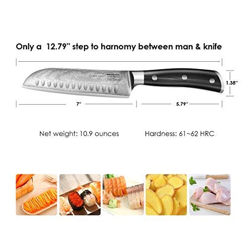SKY LIGHT Damastmesser Santokumesser Damaskus Küchenmesser 67-Schicht Hand Gefertigt 7-Zoll, Japanischem Damaststahl AUS10V High Carbon Edelstahl w/Mantel