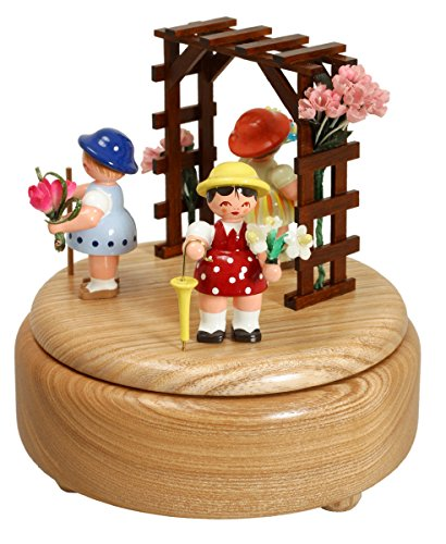 Di Music Box - di Music Box non dipinto dei bambini di fiore 14.0 cm NUOVO