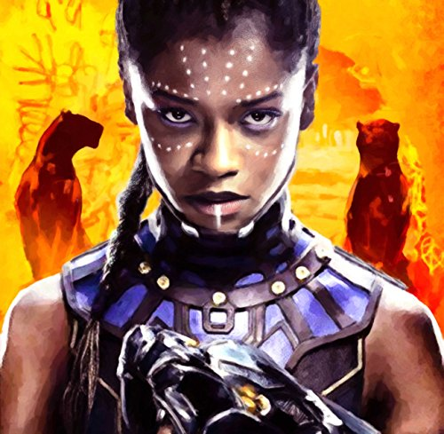 Shuri from Black Panther Letitia Wright Marvel comics art on canvas