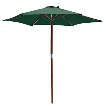 Lovely 8 Foot Patio Furniture Wood Market Umbrella Green