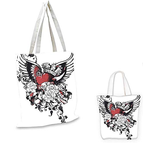 Modern canvas messenger bag Tattoo Style Heart Crown with Wings Artictic Love Valentines Gothic Romance Graphic canvas beach bag Black Red. 16