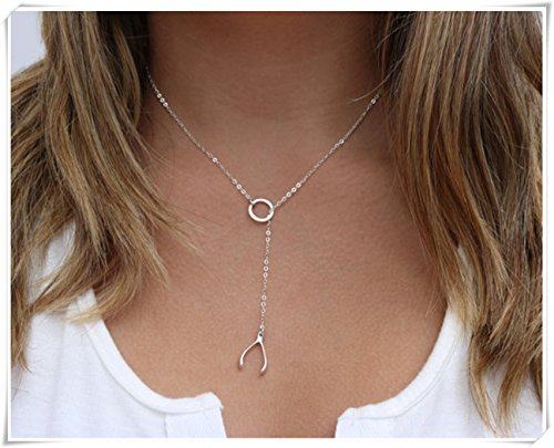 sea-maiden®Wishbone Lariat Necklace- Sterling Silver