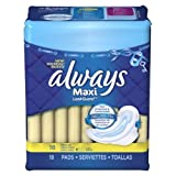 Always Maxi Pads Regular With Wings Unscented 18 CT (Pack of 24)