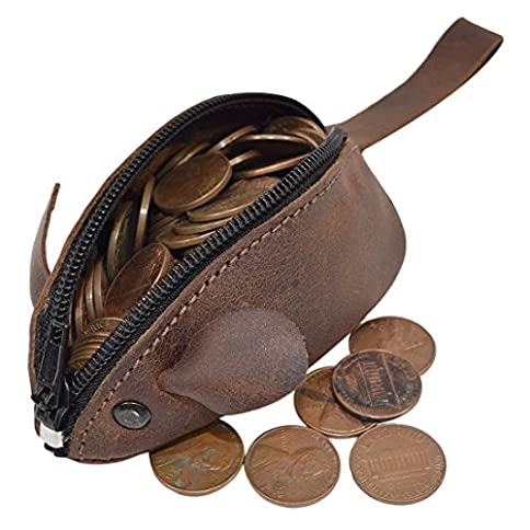 - 51GlzYVobeL - Rustic Leather Mouse Coin Purse Change Pouch Handmade By Hide & Drink, Bourbon Brown, Small
