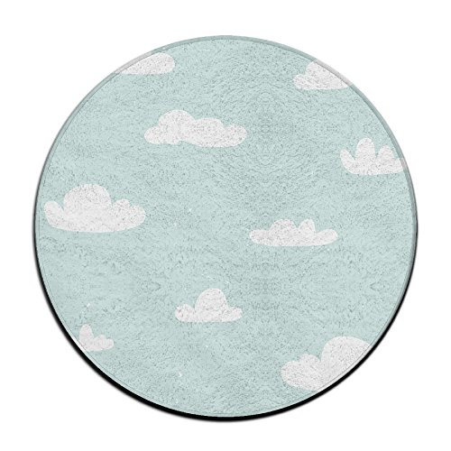 Yo Ou Round Area Rug Clouds Casual Anti-skid Living Bedroom Rug Doormat Entry Carpet Rug Pads 23.6