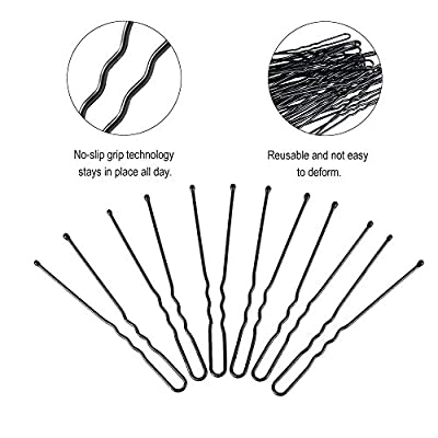 200Pcs Professional Black Bobby Pins U Shape Hair Pins for Women Girls and Hairdressing Salon(2.4 Inches)