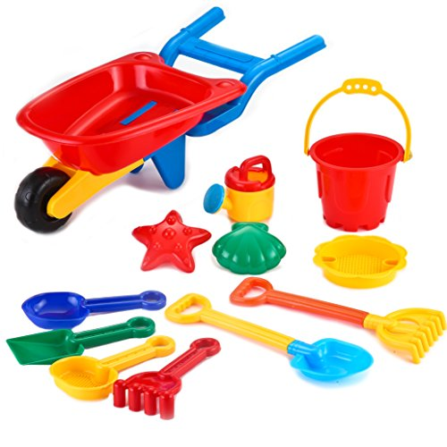 Beach Toys Plastic (Joyin Toy Beach Sand Toy Set Including Trolley Cart, Models and Molds, Bucket, Shovels and Rakes in Reusable Zippered Bag)