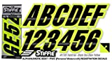 STIFFIE Techtron Black/Day Glow Yellow 3'' Alpha-Numeric Registration Identification Numbers Stickers Decals for Boats & Personal Watercraft