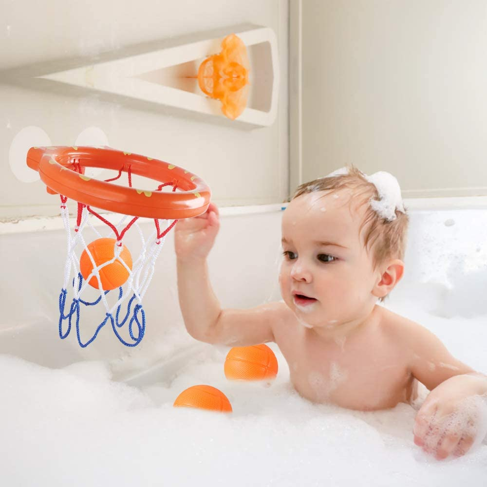 Heqishun 2 Ensembles de Cerceaux de Basket-Ball pour Le Bain avec 6 Balle Jouets de Bain pour Les Gar/çons et Les Enfants Jouets de Basket-Ball Baignoire Jeu de Tir