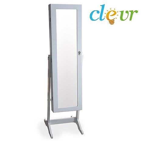 Clevr White Mirrored Jewelry Cabinet Armoire Mirror Organizer Storage Box  Stand