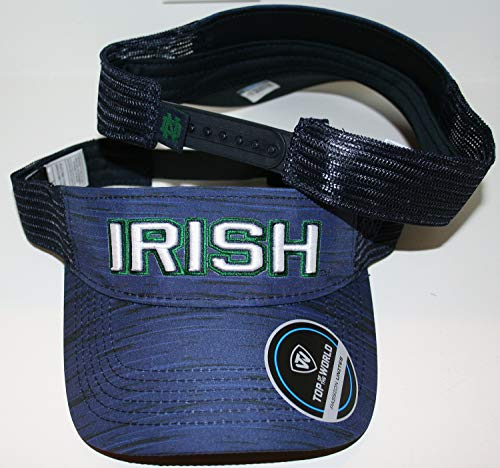 University of Notre Dame ND Fighting Irish Top Blue Intruder Vector Team Irish Mens/Womens/Youth Team Gameday Adjustable Visor
