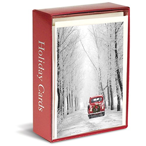 Graphique Red Car in Snow Boxed Cards - 15 Holiday Cards with Red Car in a Snow Forest, Christmas Cards Embellished with Glitter, Includes Matching Envelopes and Storage Box, 4.75