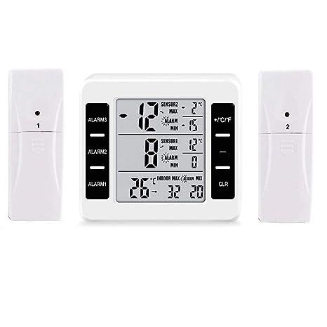 Termómetro de nevera digital LCD grande, termómetro de congelador, termómetro de refrigerador con dos