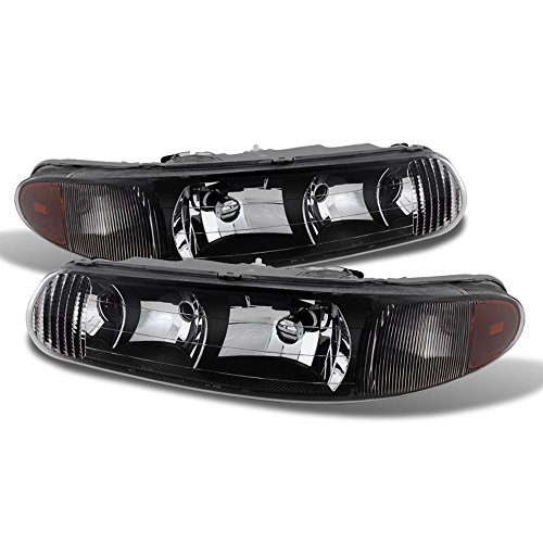 Buick Regal Headlight Replacement - ACANII - For 1997-2005 Buick Century 97-04 Regal LS/GS Black Headlights Head Lights Replacement Driver + Passenger Side