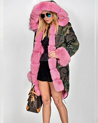 ea93b6e0e8 lovely Roiii Pink Faux Fur Military Camouflage Women Hooded Outdoor Jacket  Overcoat