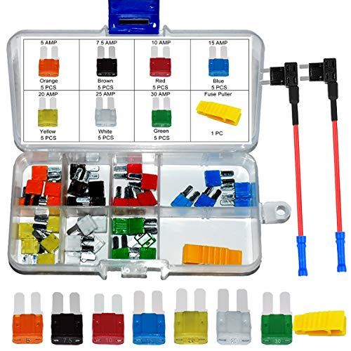 35 PCS Micro2 ATR Car Blade Fuses - MuHize Micro 2 Automotive Fuses Assorted (5, 7.5, 10, 15, 20, 25 & 30 AMP) with Puller Tool +Micro II Fuses Add-a-circuit TAP Adapter for Car Boat Truck SUV RV