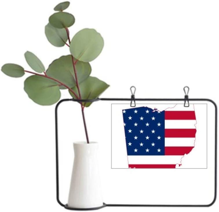 DIYthinker Ohio USA Map Stars Stripes Flag Shape Metal Picture Frame Ceramic Vase Decor
