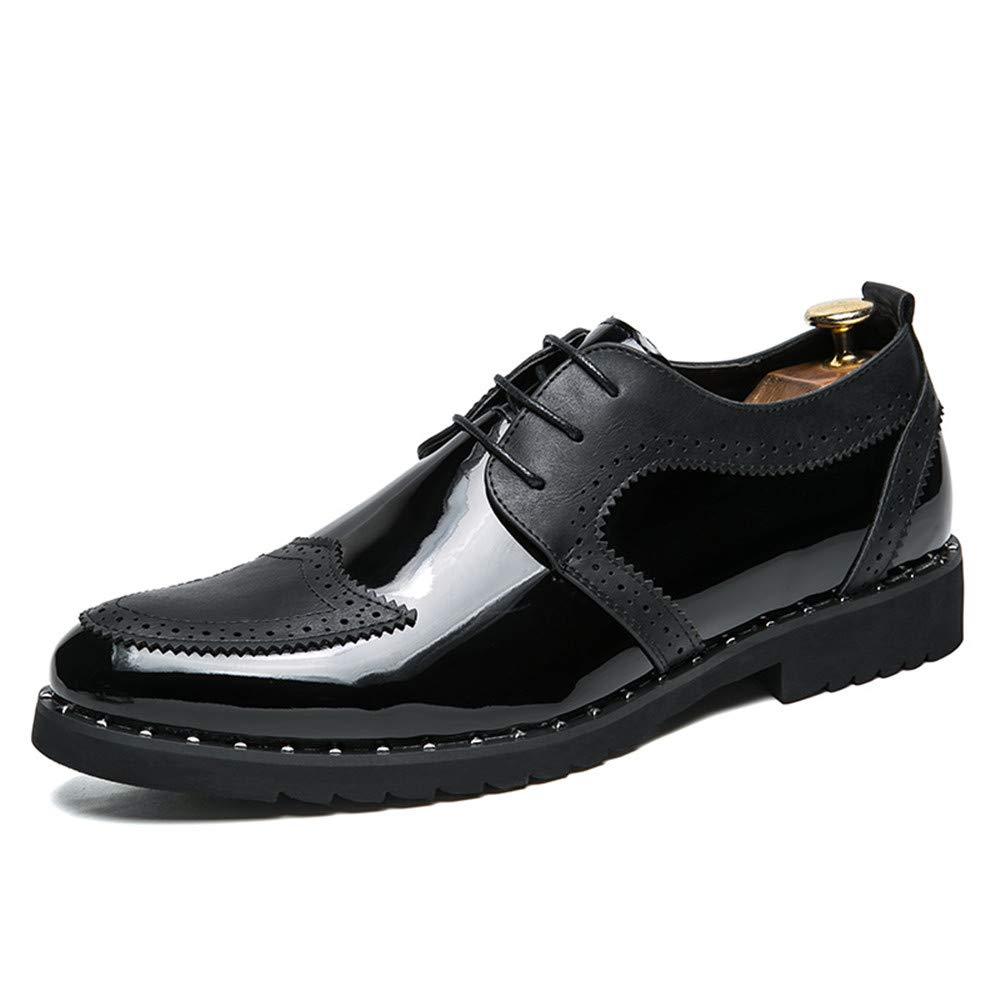 Oxford Shoes Men's Fashionable Oxfords Flat Heel Lace up British Style Shoes Dress Shoes Business Shoes for Men (Color : Black, Size : 9 M US)