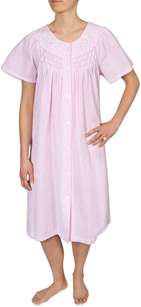 Ladies Short Sleeves Nightshirt//Nightdress Seersucker Spots Size 10//12