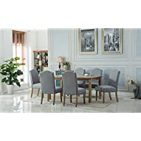 Roundhill Furniture T171 C171GY Monotanian Dining Collection Solid Wood Table with 6 Nailhead Chairs, Gray
