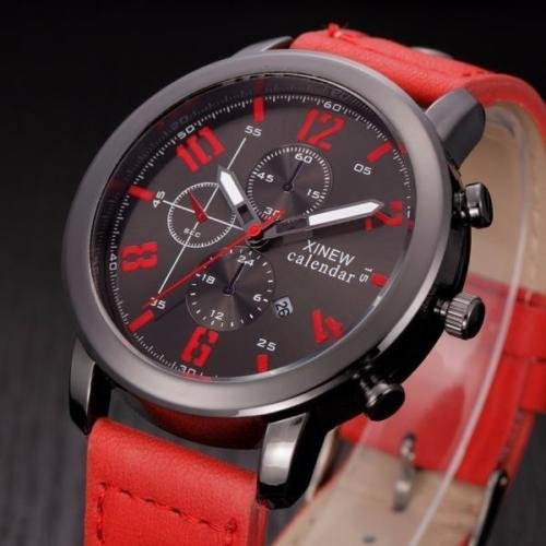 Quartz analog watch, stainless steel Quartz Analog Wrist Watch Gift for Your Love , waterproof, trendy and high quality!, The perfect gift for yourself or for your friends (in red).
