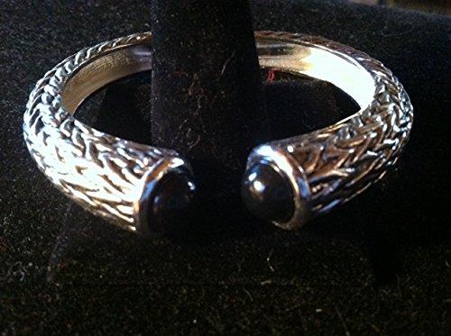 Beautiful Bangle Bracelet - Faux Onyx Cabochon Stones