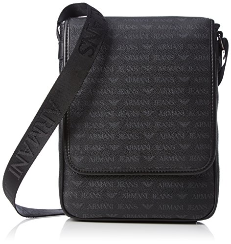 Armani Exchange Men's All Over Logo Pu Messenger Bag with I-Pad Compartment, - Men Bag Armani