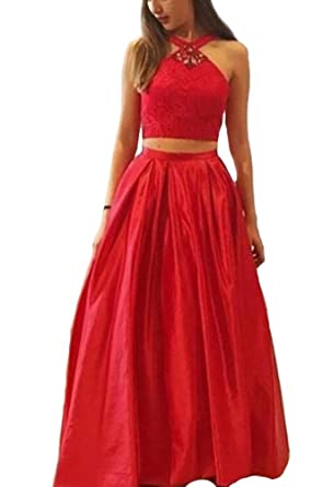 Holygift Womens Halter Two Piece A Line Long Beaded Prom Dresses Formal Evening Dresses Red US0