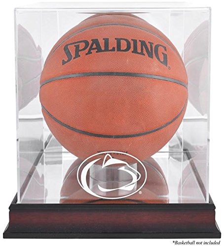 Penn State Nittany Lions Basketball Display Case | Details: Mahogany Base, Antique Finish, with Mirror (Penn State Wall Mirror)