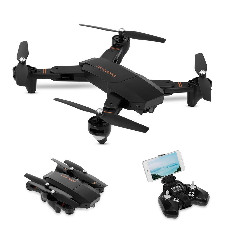 Goolsky S9 Drohne mit 720P Kamera Live Übertragung, WiFi FPV Quadrocopter, App-Steuerung, One Key Start/Landung,Headless Modus,Drohne für Anfänger,Schwarz