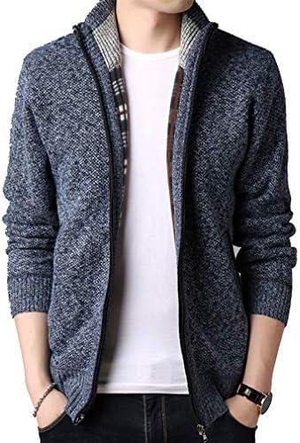ニットカーディガン メンズ ジップアップ ハイネック 裏ボアカーデ セータージャケット 無地 カジュアル コート 暖かい 大きいサイズ 秋冬服