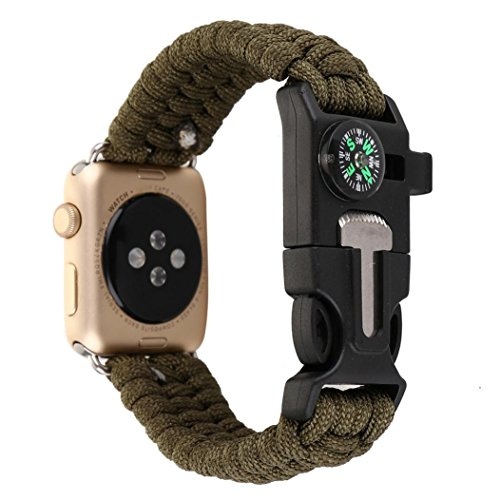 Classic Watch Band Compass (:For iWatch Apple Watch Series 1/2 42MM ,Paracord Survival Bracelet Band with fire starter & Compass (B))
