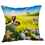 NUWFOR Happy Easter Pillow Cases Linen Sofa Cushion Cover Home Decor Pillow Case(A)
