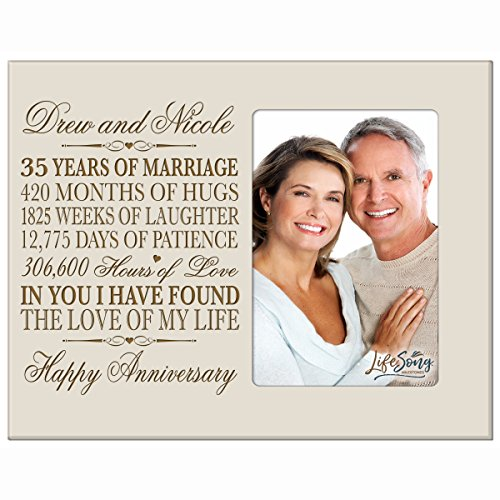 Personalized 35th Year Wedding Anniversary Gift for Couple 35th Anniversary Gift frame Holds 1 4x6 Photo 8'' H X 10'' W (Ivory) by LifeSong Milestones