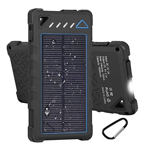 Hobest Solar Charger 10000mAh,Waterproof Outdoor Solar Power Bank with LED Flashlight,Dual USB Portable Charger Solar for Smartphones,GoPro Camera,GPS and Emergency Travel