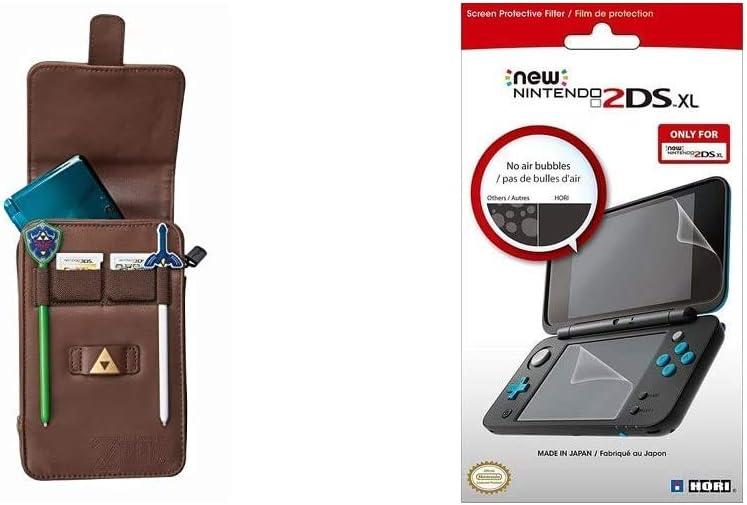 PowerA - Estuche De Transporte Legend Of Zelda: Adventurer (Nintendo 3DS Xl/3DS/DSI Xl/DSI) + Hori - Protector De Pantalla (New Nintendo 2DS XL)