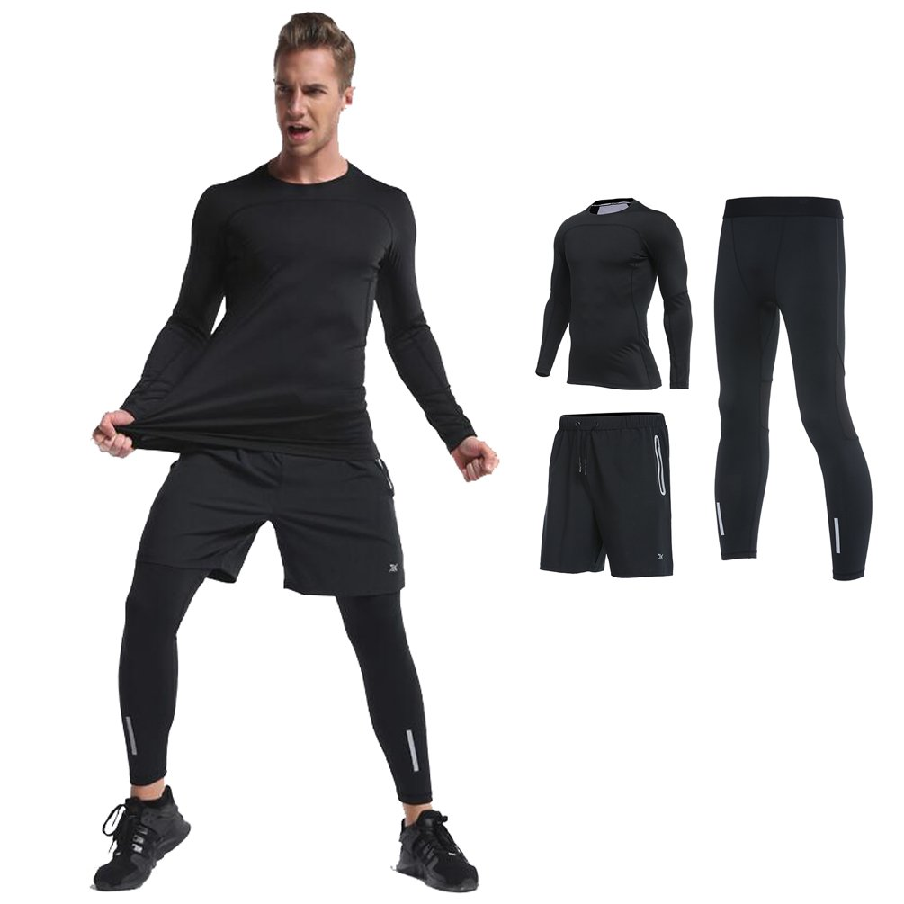 26883cf6a782 Amazon.com  Fanceey Sports Running T Shirt Thermal Underwear Men Gym  Fitness Compression Set Sweat Thermo Clothing 4pcs  Clothing