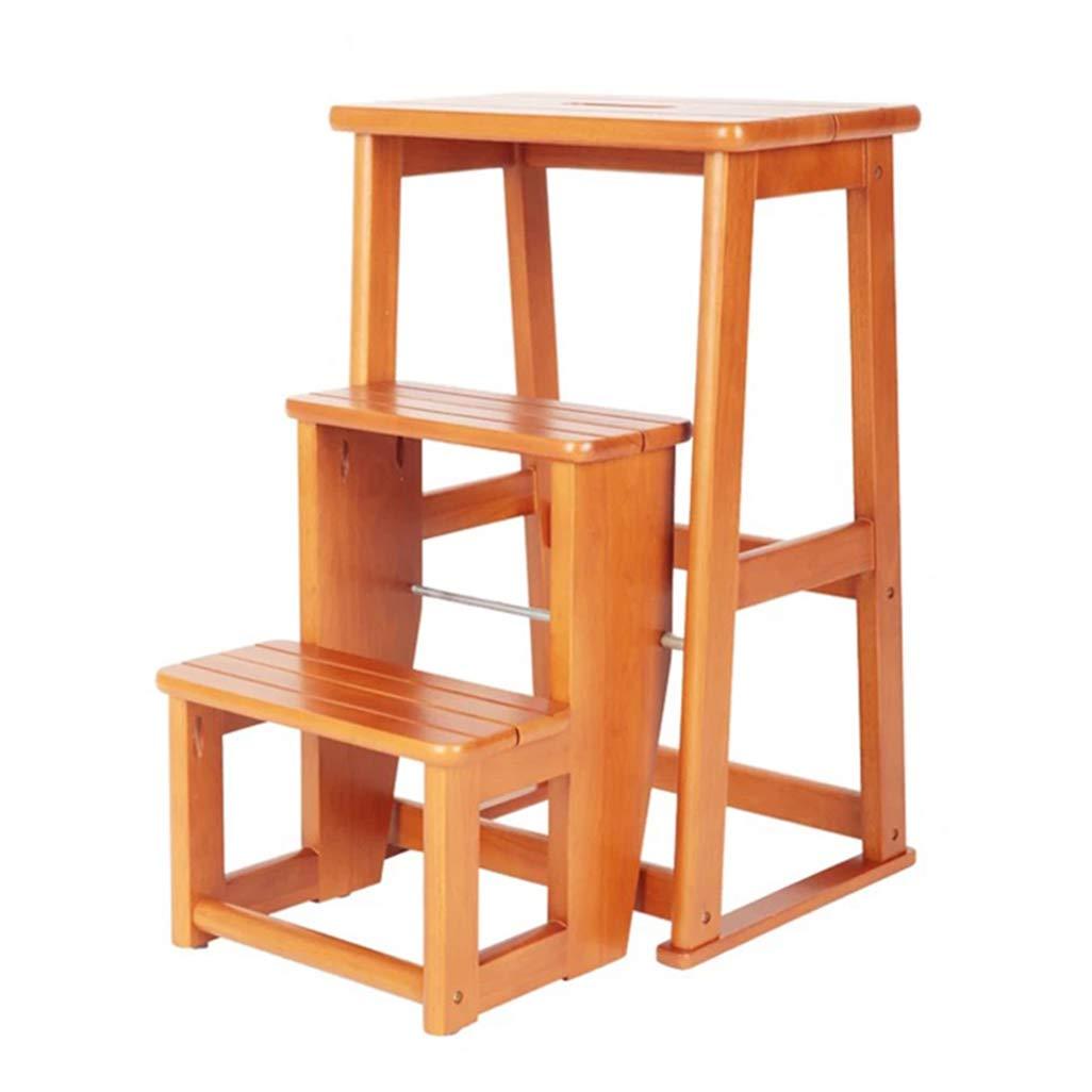 折りたたみ3ステップスツールラダー、家庭用階段の椅子キッズ&大人のためのオークの木の踏み台、軽量ホームガーデンツールヘビーデューティマックス。 150kg B07L4CD2TW yellow