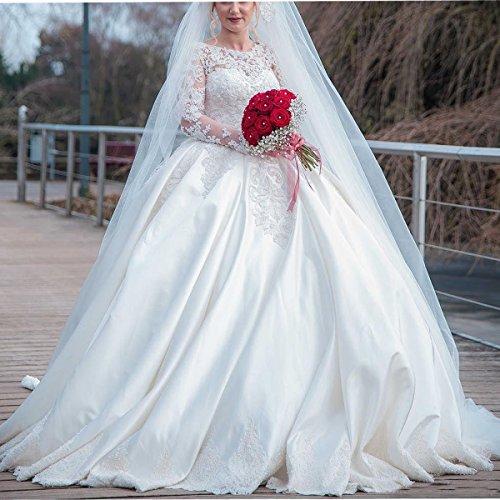 Thrsaeyi Womens Elegant Long Sleeves Ball Gown Wedding ...