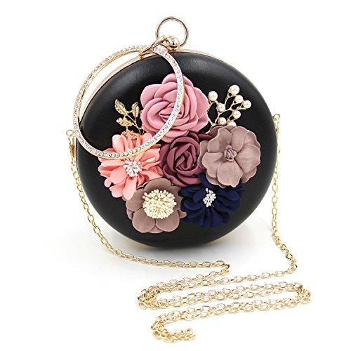 Bags Beading Flada Flower White Women 2 for Clutch Case Purse Wedding Hard Bags UaUwq6XO