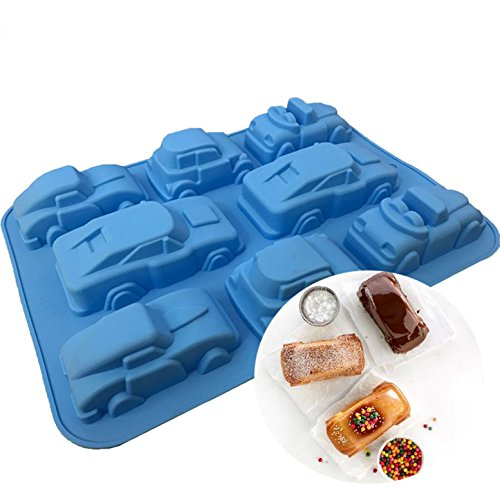 FantasyDay 2 Pack Silicone Carton Car Mold Baking Molds Bakeware for Birthday Theme Party, Muffin Cups, Ice Cube, Soap, Wafer, Cake, Bread, Tart, Pie and More #1]()
