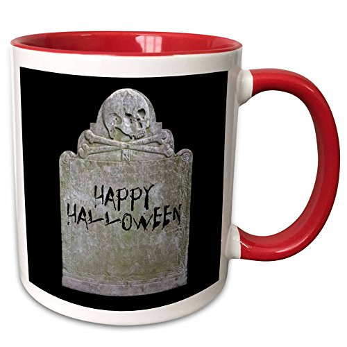 3dRose Xander holiday quotes - Happy Halloween picture of tombstone with black lettering on it - 15oz Two-Tone Red Mug (mug_201933_10) ()